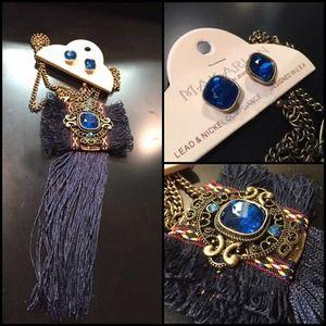 NEW Boho Pendant Long Tassel Necklace Set Funky